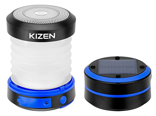 Kizen-Solar-Powered-LED-Camping-Lantern-Solar-or-USB-Chargeable-Collapsible-Space-Saving-Design-Emergency-Power-Bank-Flashlight-Water-Resistant-For-Outdoor-Night-Hiking-Camping-Tent-Lawn-Patio