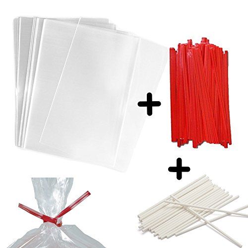 "100 4x6"" Clear Food Safe Favor Treat Bags, 4"" Paper Red Twist Ties and 6"" Paper Lollipop Sticks - 1.5mils Thick PP Plastic - Stronger Than Cello Party Bags Gift Basket Supplies (Red, 6"")"