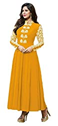 Clickedia Women's Georgette anarkali style gown ( Yellow_Free Size)