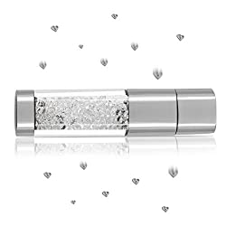 Techkey Jewelry Crystal USB Flash Drive for Girls,with 2 in 1 Anti Dust Plug + Stylus Pen for Touch Screens Set,Photo Frame Packaging,32GB,Pearl White