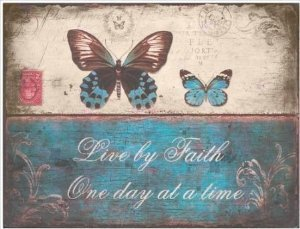 Manual Vintage Postcard Metal Wall Decorative Sign, Live X Faith Butterflies, 13 X 9.75-Inch front-272383