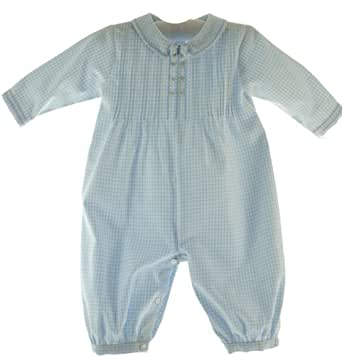 Baby Boys Blue Gingham Long Sleeve Dressy Romper Outfit