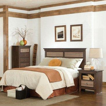 Standard Furniture Weatherly 3 Piece Headboard Bedroom Set in Cherry & Weathered Brown