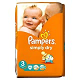 Pampers Simply Dry Nappies Size 3 Essential Pack 45 per pack Case of 1