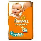 Pampers simplemente seco pañales tamaño 3esenciales Pack 45por paquete caso de 1