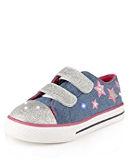 Light-Up Riptape Glitter Denim Trainers