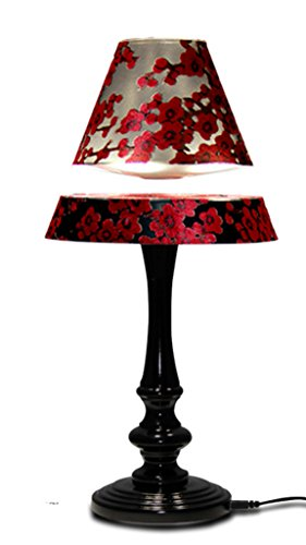 HNT Magnetic Floating and Rotating LED Table Lamp for Home Decoration with Blush Lampshade
