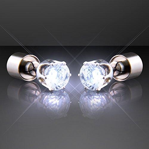 White Light Up Led Earrings For Pierced Ears