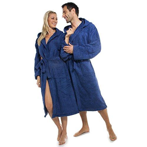 aqua-textil Bademantel Damen Herren Frottee Baumwolle mit Kapuze Föhr blau S