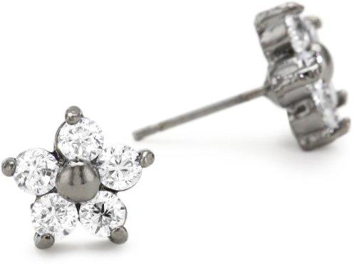 Betsey Johnson Crystal and Hematite-Color Star Flower Stud Earrings