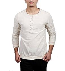 Fadjuice Men's Shirt (Fj43838L_Off -White_Large)