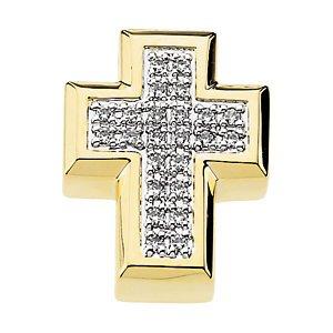 Genuine IceCarats Designer Jewelry Gift 14K Yellow Gold Diamond Cross Pendant