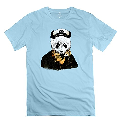 Yongth Men's Captain Panda Smoking 100% Cotton T-Shirt