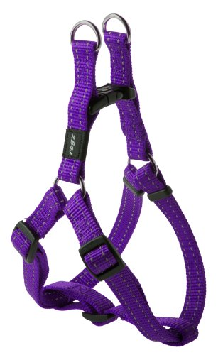 Rogz Utility Medium 5/8-Inch Reflective Snake Adjustable Dog Step-in-Harness, Purple