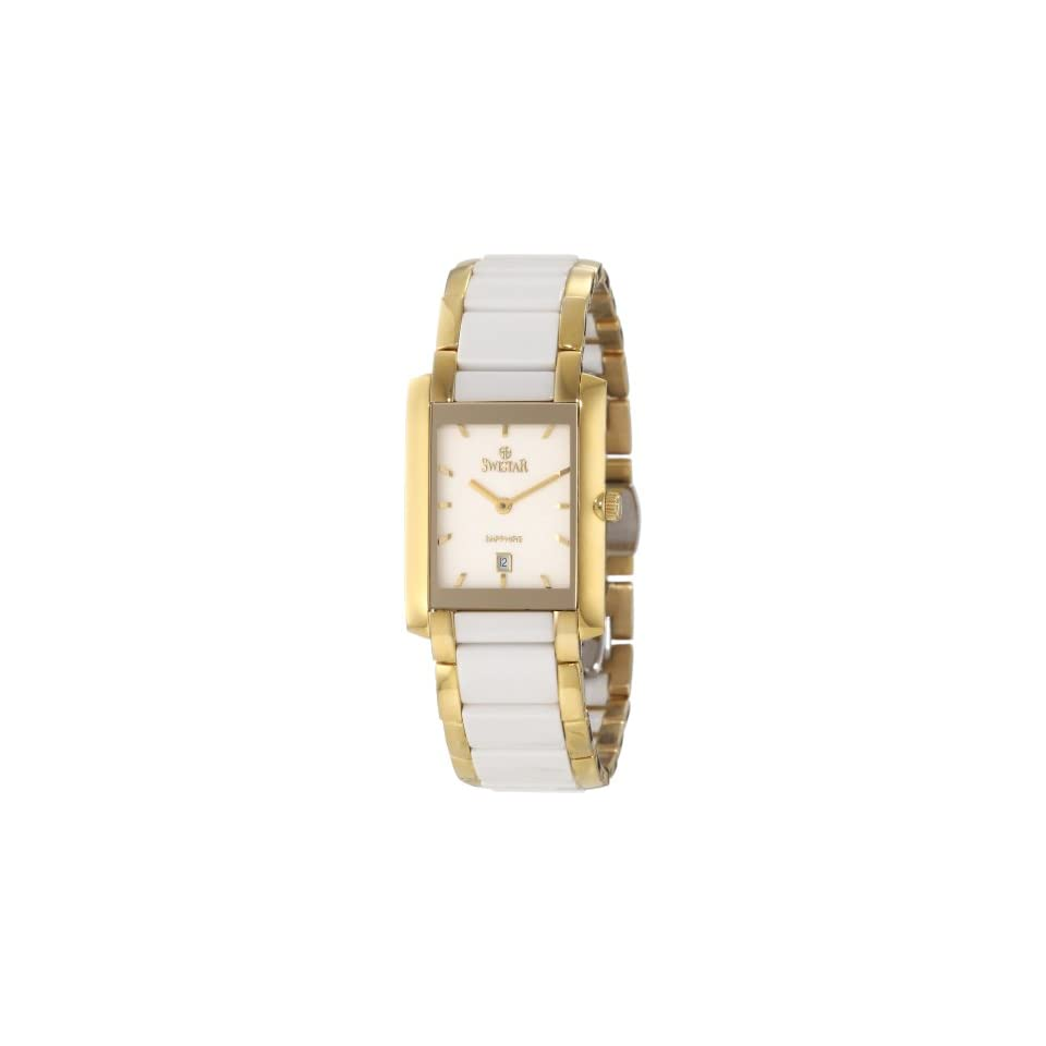 Swistar Womens 454 61L Swiss Quartz Scratch Resistant Ceramic and Stainless Steel Dress Watch