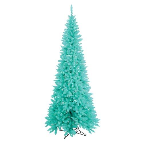 75 pre lit aqua blue fir slim artificial christmas tree aqua lights - Pre Lit Christmas Tree Reviews