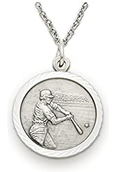 """Solid .925 Sterling Silver St. Saint Christopher Baseball Medal on Back 3/4"""" Boys Sports Patron Saint St. Comes with a 20'' chain Pendant Necklace in a deluxe velvet box"""
