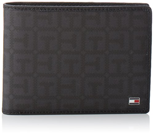 Tommy Hilfiger Logo Story CC and Coin Pocket, Portafogli Uomo, Nero (Black/Asphalt Grey 901 901), 13x10x3 cm