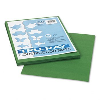 """Recycled Fade-Resistant Construction Paper, 76#, 9""""x12"""", Dark Green, 50/Pack PAC103021"""