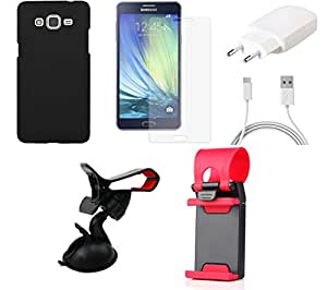 Tempered Glass Screen Guard Cover Case Charger Mobile Holder for Samsung Samsung Galaxy A7 - Combo