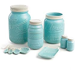 "Mason Jar Ceramic Kitchenware ""Complete Set"": Measuring Cups and Spoons, Cookie Jar, Utensil Crock, Spoon Rest, Salt and Pepper Shaker"
