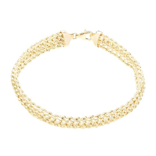 Duragold 14k Yellow Gold Woven Rope Braided Bracelet,