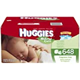Huggies Natural Care Fragrance Free Baby Wipes Refill, 648 Count (Packaging may vary)