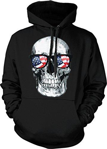 Big White Skull With American Flag Sunglasses Men's Hoodie Sweatshirt (2XL, BLACK)
