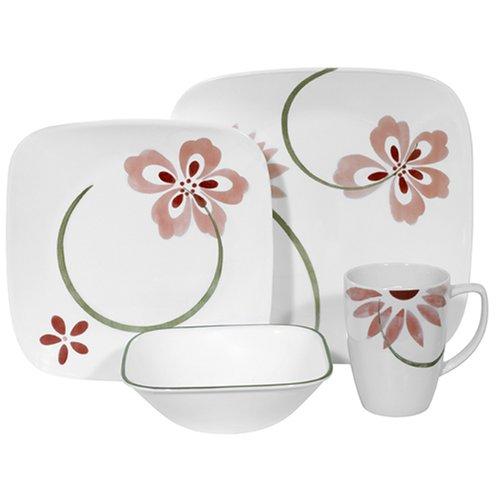 Corelle Pretty Pink Square 16-Piece Dinnerware