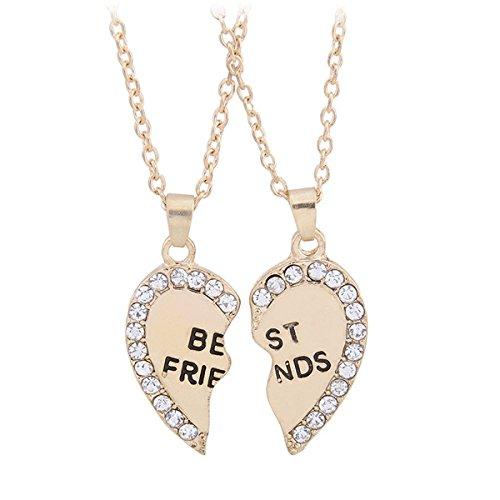 TININNA 2 pz split cuore strass inciso con Best Friends del font collana del pendente oro