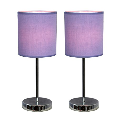 All The Rages Lt2007-Prp-2Pk Simple Designs Chrome Basic Table Lamp With Purple Shade, 2-Pack