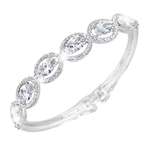 EVER FAITH® Wedding Silver-Tone Leaf Bracelet Clear Zircon Austrian Crystal