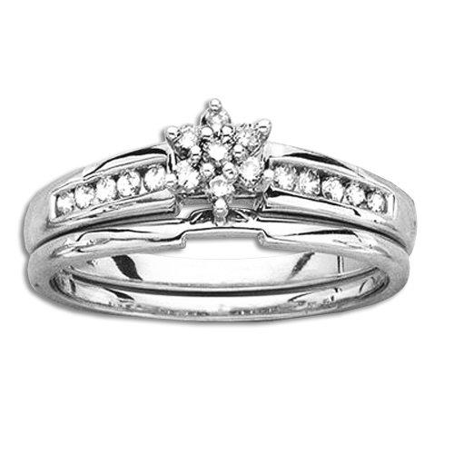Sterling Silver 1/4 ct. Diamond Bridal Engagement Set