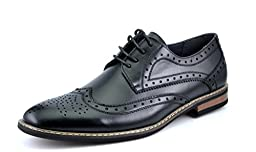 Bruno HOMME MODA ITALY PRINCE Men\'s Classic Modern Oxford Wingtip Lace Dress Shoes,PRINCE-3-BLACK,8.5 D(M) US