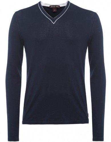 Michael Kors Men's Sweater Navy Tipped V Neck Jumper XL