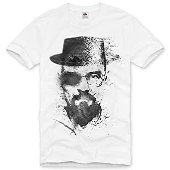 style3 Heisenberg T-Shirt Homme breaking walter bad tv série white meth crystal dvd blu-ray, Size:S;Couleur:Blanc