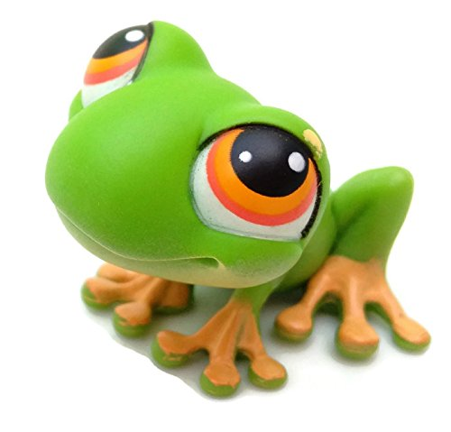 Frog #50 (Green, Orange Eyes, Orange Toes) 2004 Littlest Pet Shop (Retired) Collector Toy - LPS Collectible Replacement Single Figure Loose (OOP Out of Package) - 1