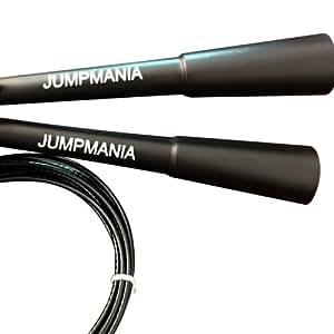 Jumpmania Corde à sauter spécial vitesse pour entrainements de Crossfit/boxe/doubles sauts Facilement ajustable Entrainements cardio avancés Noir Longueur 3 m Black/extra long handles