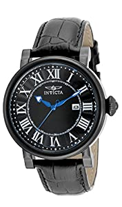 Invicta Mens 15434 Specialty Stainless Steel Black Dial Classic Leather Band Watch