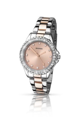 Sekonda Women's Quartz Watch with Rose Gold Dial Analogue Display and Multicolour Bracelet 4254.27