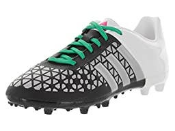 adidas Performance Ace 15.3 FG AG J Soccer Shoe (Little Kid/Big Kid),Black/Metallic Silver/Shock Mint,6 M US Big Kid