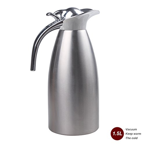 JUNING Coffee Pot Stainless Steel Double Wall Vacuum Insulated 1.5L Large Capacity Tea/Water Pitcher with Press Button Silver (Press Pot Carafe compare prices)