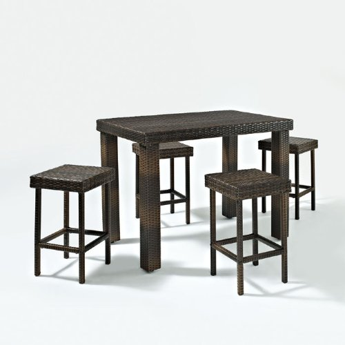 Palm Harbor 5 Piece Outdoor Wicker High Dining Set Table Four Stools