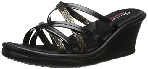 Skechers Cali Women's Rumblers-Social Butterfly Wedge Sandal, Black, 8 M US