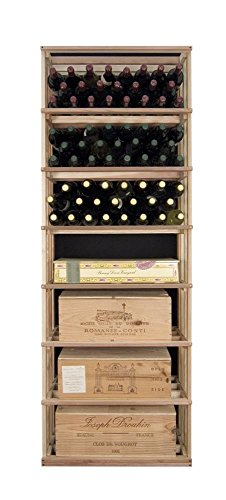 Tall Rectangular Wine Bottle & Case Storage Tower (Premium Redwood Unstained) front-577401