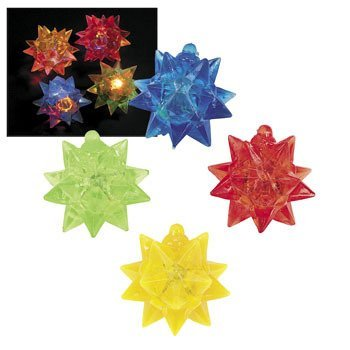 12 Rubber Flashing Star Balls - Glow Products & Light Up & Flashing Toys