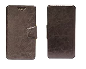 J Cover Bonded Series Leather Pouch Flip Case With Silicon Holder For Fly Mobile F41s Brown
