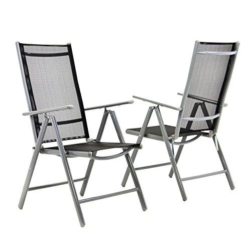 2-er Set Stuhl, Klappstuhl, Gartenstuhl, Hochlehner für Terrasse, Balkon Camping Festival, aus Aluminium verstellbar, leicht, stabil, schwarz
