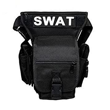 Black Leg Bag with multiple pockets and prominent SWAT label