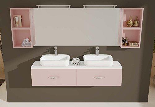 Mobile Arredo Bagno Ice cm 160x40 sospeso con doppio lavabo con 2 cassetti in 30 colori Mobili